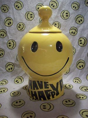 Vintage McCoy Smiley Face Cookie Jar with Lid, Yellow, Have A Happy Day