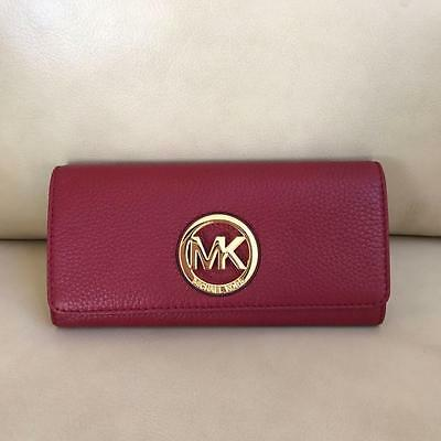 NEW Michael Kors Cherry Fulton Flap Continental Leather Wallet