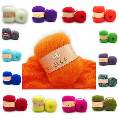 Wholesale! Luxury Angola Mohair Cashmere Wool Yarn Skein Lot;Fine;51 Colors!