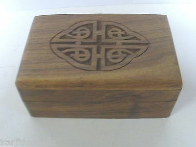 Celtic Wood Box -Tarot or Jewelry - Carved Design - Unbranded