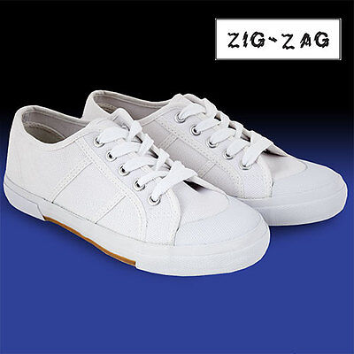 Zig-Zag White Lace Up Canvas Shoes - Women's 7