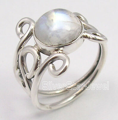 925 Pure Silver Exclusive RAINBOW MOONSTONE Gem URBAN STYLE Ring Each Size UK US