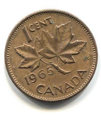 1965 Canadian One Cent Maple Leaf Penny Coin - Canada - Queen Elizabeth II
