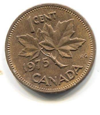1975 Canadian One Cent Maple Leaf Penny Coin - Canada - Queen Elizabeth II