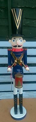 Christmas Nutcracker Wooden Soldier Drummer Extra Large 62Cms On Stand Bnwt