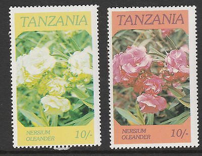 Tanzania (38) 1986 Flowers 10s RED OMITTED plus normal both mnh SG 476var