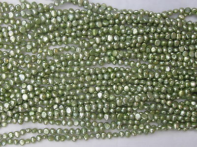 "New 5-6MM Nugget Baroque Freshwater Pearls Beads green colours 1 Strand ""  009"