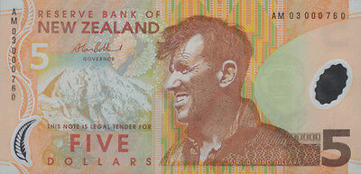 New Zealand Low AM03 000718 1st $5 Hillary Polymer Banknote Bollard Issue p185b