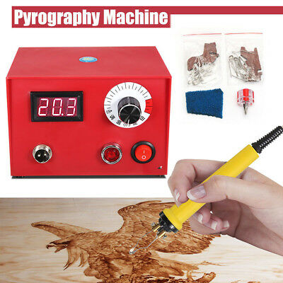 50W Multifunction Pyrography Machine 2 Pen 20 Tips Wood Burning Craft Hobby Tool