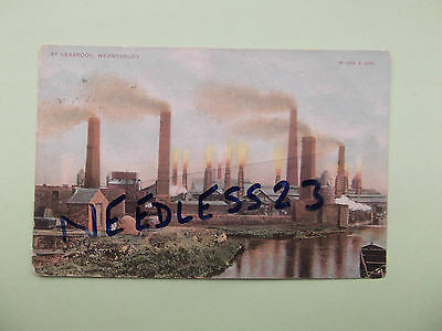 staffs postcard at Leabrook Wednesbury, factory chimneys by Ryder & son