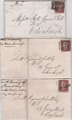 1845-50 JOB LOT OF FIFTEEN QV COVERS ALL WITH 1d PENNY RED IMPERF STAMPS !!