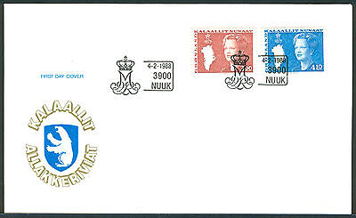 GREENLAND 1988 stamps 3.00/4.10 kr Queen Margrethe Type III on FDC