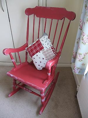 Magnificent Vintage Solid Wood Rocking Chair . Restored Shabby Chic !