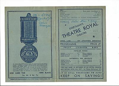 Everyman's Theatre Royal Programme from 1945:  the dancing elites - jack day -..