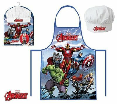 Boys Marvel Avengers 2 Piece Chef Cook Baking Gift Set Includes Apron And Hat