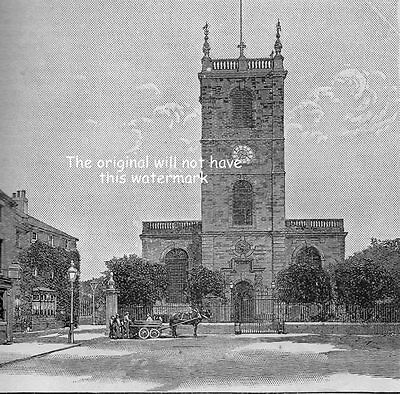 Parish Church Of St Modwen Burton On Trent In 1908 Two Small Antique Engravings