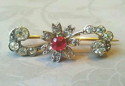 Antique Edwardian Solid Silver Ruby & Clear Paste Brooch Pin