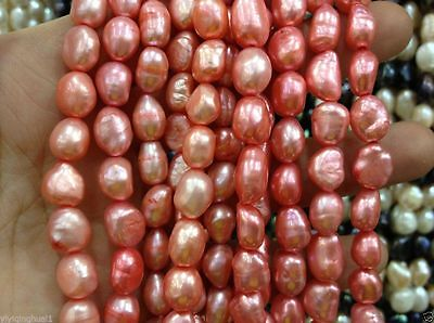 "new!8-9MM Watermelon red irregular freshwater pearl loose beads  13"" 019"
