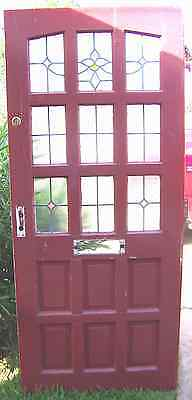 33x77 Old Antique Vtg Panel Stained Glass Red Entry Door Solid Wood Hardware