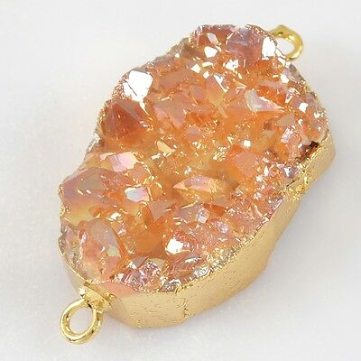 Natural Agate Titanium Druzy Connector Gold Plated H80459