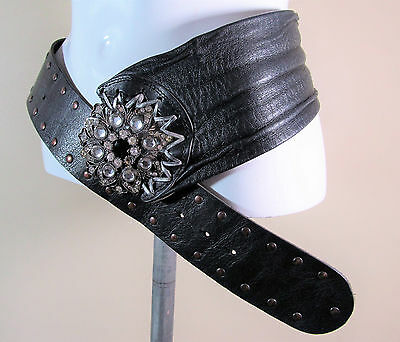 River Island black quality leather fashion belt with large buckle M/L R15006