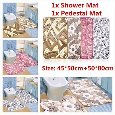 2pc/Set Coral Velvet Bathroom Carpet Non-slip Water Absorption Floor Mat OKJ