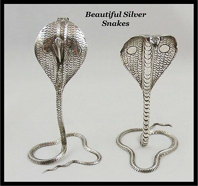 2 Chinese Silver King Cobra Snakes Genuine Ruby Eyes