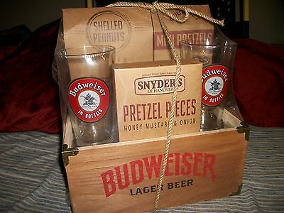 Budweiser Limited Edition wooden Crate box Pint Glass Gift Set FREE SHIPPING USA