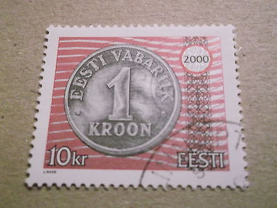 2000 Estonia One Kroon Coin Stamp used