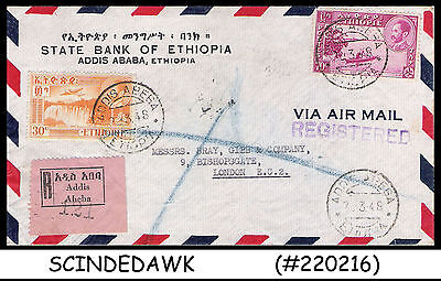 Ethiopia - 1948 Air Mail Registered Envelope With Stamps