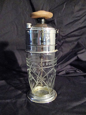 Rare Vintage Wind-up JEAN-AR HANDY-MIXER Etched Glass Cocktail Shaker MIXER