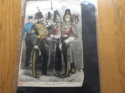 Crimea military picture,Troops for the War Cavalry , from a newspaper,coloured