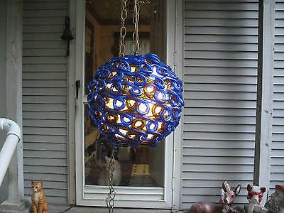 Mid Century Modern Resin Acrylic Lucite Swag Lamp w/Swirling Blue Amber Colors