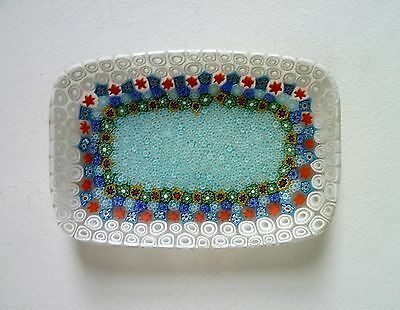 MURANO Italy Vintage Closepack Millefiori Glass DISH. Frosted Surface