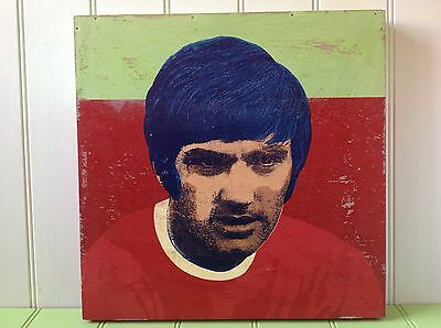 Original Painting On Wood of  George Best  By Well Known Artist By Andy Bridge