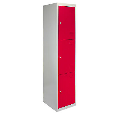 Metal Lockers 3 Doors Steel Staff Storage Lockable Gym School Red - 45cm D