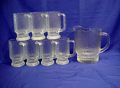 "Indiana Glass ""crystal Ice"" Textured - 7 Glass Mugs And 1 Pitcher Set -"