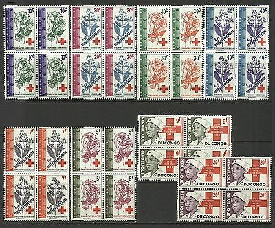 Red Cross-Flowers-1963 Congo-MNH block of 4 complete set