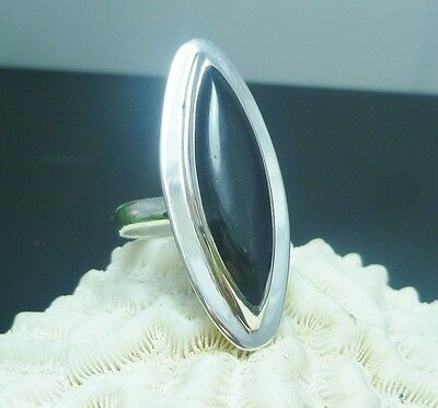 Taxco Mexico Mexican 925 Sterling Silver Black Onyx Long Ring Sz 6 6.5 7
