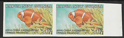 Papua New Guinea 1987 Anemone Fish 70t IMPERFORATE  pair unmounted mint
