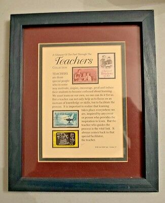 COLLECTIBLE  Teachers POSTAGE STAMPS Matted Framed