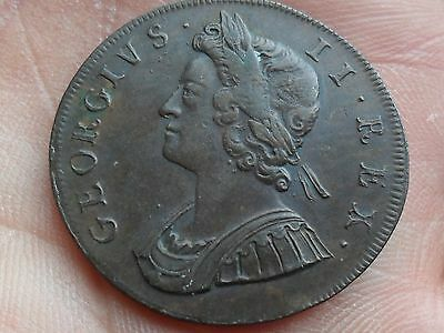 King George II Halfpenny dated 1729 excellent high grade