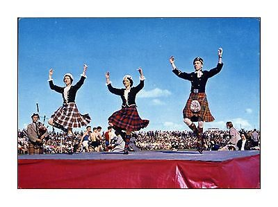 Bagpipes & Highland Fling Nairn Games Inverness Scottish Dancing Dixon Postcard