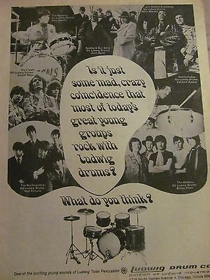 Ludwig Drums, Jimi Hendrix, Cream, Hollies, Rascals, Full Page Vintage Print Ad