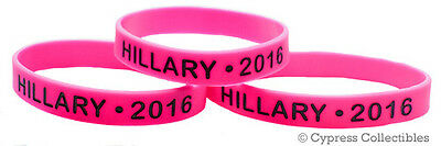 LOT of 3 HILLARY CLINTON FOR PRESIDENT 2016 PINK SILICONE WRISTBAND ELECTION new