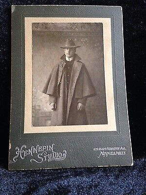 Antique Cabinet photo Strikingly Handsome man in Sherlock Holmes type coat