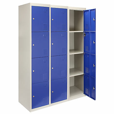 3 x Steel Lockers 4 Doors Metal Staff Storage Lockable Gym Changing Room Blue