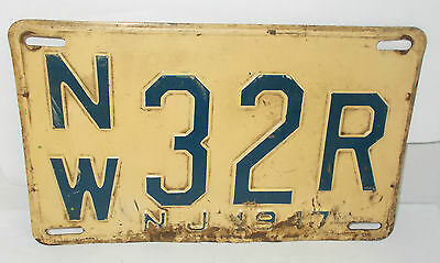 Vintage 1947 New Jersey License Plate
