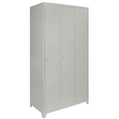 Metal Lockers 3 Doors Steel Staff Storage Lockable Gym Changing Room School Grey