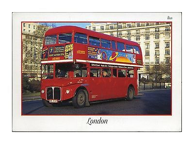 No 7 ROUTEMASTER BUS IN LONDON - BOUND FOR EAST ACTON STATION POSTCARD